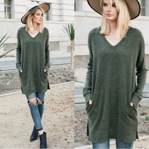 Tops - NEW ARRIVAL !!! Olive Brushed Knit Pocket Tunic